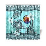 Tahiti Shower Curtain - Polynesian Turtle Plumeria Blue A24