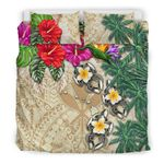 Kanaka Maoli (Hawaii) Bedding Set - Hibiscus Turtle Tattoo Beige A02