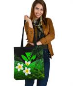 Kanaka Maoli (Hawaiian) Tote Bag, Polynesian Plumeria Banana Leaves Green   Love The World