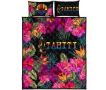Tahiti Quilt Bed Set - Tropical Flower Hinano Hibiscus | Love The World