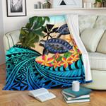 Kanaka Maoli (Hawaiian) Premium Blanket - Polynesian Turtle Coconut Tree And Plumeria | Love The World