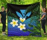 Kanaka Maoli (Hawaiian) Premium Quilt, Polynesian Plumeria Banana Leaves Blue | Love The World