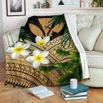Kanaka Maoli (Hawaiian) Premium Blanket, Polynesian Plumeria Banana Leaves Gold | Love The World