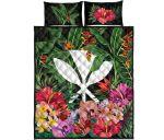 Kanaka Maoli ( Hawaiian) Quilt Bed Set - Coat Of Arms Tropical Flowers And Banana Leaves    Love The World