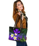 Kanaka Maoli (Hawaiian) Small Leather Tote Bag, Polynesian Plumeria Banana Leaves Purple   Love The World