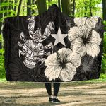 Niue Hibiscus Coconut Crab Polynesian Hooded Blanket - Style Black A10