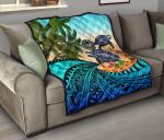 Tahiti Premium Quilt - Polynesian Turtle Coconut Tree And Plumeria | Love The World