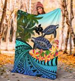 Papua New Guinea Premium Blanket - Polynesian Turtle Coconut Tree And Plumeria | Love The World