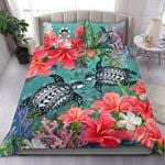 Tuvalu Bedding Set - Polynesian Turtle Hibiscus And Seaweed  | Love The World