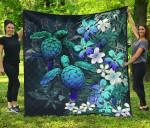 Kanaka Maoli (Hawaiian) Premium Quilt - Sea Turtle Tropical Hibiscus And Plumeria Blue | Love The World