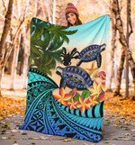 Niue Premium Blanket - Polynesian Turtle Coconut Tree And Plumeria | Love The World
