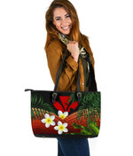 Kanaka Maoli (Hawaiian) Leather Tote Bag, Polynesian Plumeria Banana Leaves Red | Love The World
