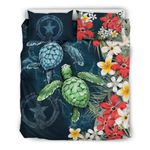 Northern Mariana Islands  Bedding Set - Sea Turtle Tropical Hibiscus And Plumeria | Love The World