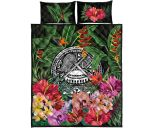 American Samoa Quilt Bed Set - Coat Of Arms Tropical Flowers And Banana Leaves   Love The World