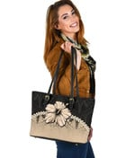 Polynesian Small Leather Tote Hibiscus Gold| Love The World