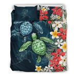 Alaska Bedding Set - Sea Turtle Tropical Hibiscus And Plumeria | Love The World