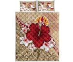 Tahiti Quilt Bed Set - Poly Hibiscus And Maps A10