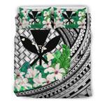 Kanaka Maoli (Hawaiian) Bedding Set - Lauhala Polynesian Hibiscus Gray | Love The World