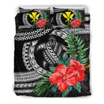 Kanaka Maoli (Hawaiian) Bedding Set - Polynesian Turtle Hibiscus Black | Love The World