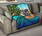 Fiji Premium Quilt - Polynesian Turtle Coconut Tree And Plumeria   Love The World