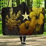 Niue Hibiscus Coconut Crab Polynesian Hooded Blanket - Style Gold A10