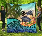 Kanaka Maoli (Hawaiian) Premium Quilt - Polynesian Turtle Coconut Tree And Plumeria | Love The World