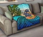 Marshall Islands Premium Quilt - Polynesian Turtle Coconut Tree And Plumeria   Love The World