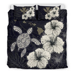 Hawaiian Hibiscus Turtle Polynesian Bedding Set - Maps Style Black A10