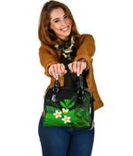 Kanaka Maoli (Hawaiian) Shoulder Handbag, Polynesian Plumeria Banana Leaves Green | Love The World