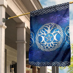 Celtic Wicca Flag - Wicca Tripple Moon Tree of Life & Pentacle - BN22