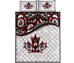 Canada Day Quilt Bed Set - Haida Maple Leaf Style Tattoo White