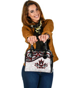 Canada Day Shoulder Handbag - Haida Maple Leaf Style Tattoo White