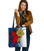Scotland Tote Bag , Scottish Lion With Celtic Cross