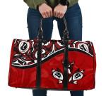 Canada Day Travel Bag , Haida Maple Leaf Style Tattoo Red