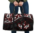 Canada Day Travel Bag , Haida Maple Leaf Style Tattoo Black