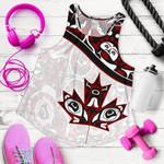 Canada Day Women's Racerback Tank , Haida Maple Leaf Style Tattoo White