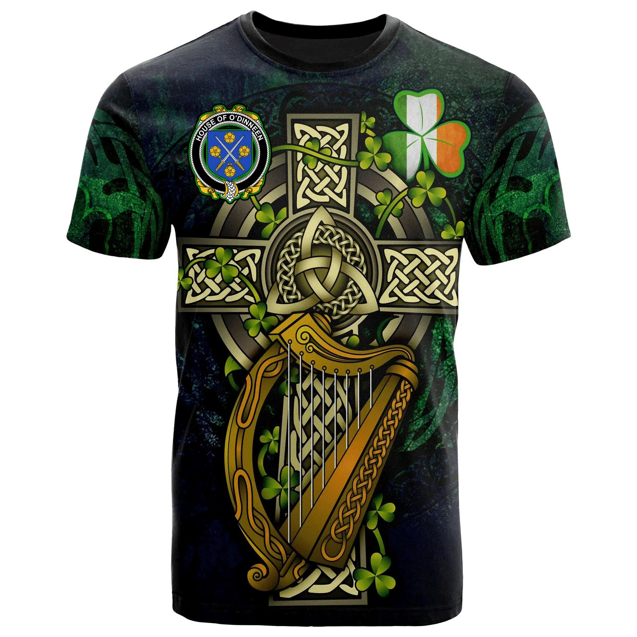 1sttheworld Ireland T-Shirt - House of O'DINNEEN Irish Family Crest and Celtic Cross A7