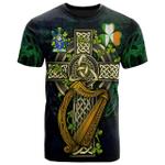 1sttheworld Ireland T-Shirt - Wall Irish Family Crest and Celtic Cross A7