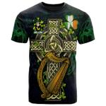 1sttheworld Ireland T-Shirt - Croke Irish Family Crest and Celtic Cross A7