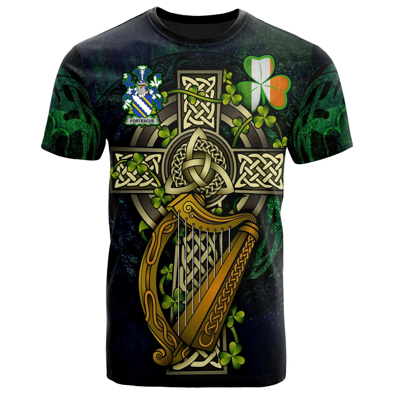 1sttheworld Ireland T-Shirt - Fortescue Irish Family Crest and Celtic Cross A7