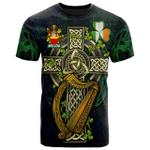 1sttheworld Ireland T-Shirt - Carron Irish Family Crest and Celtic Cross A7