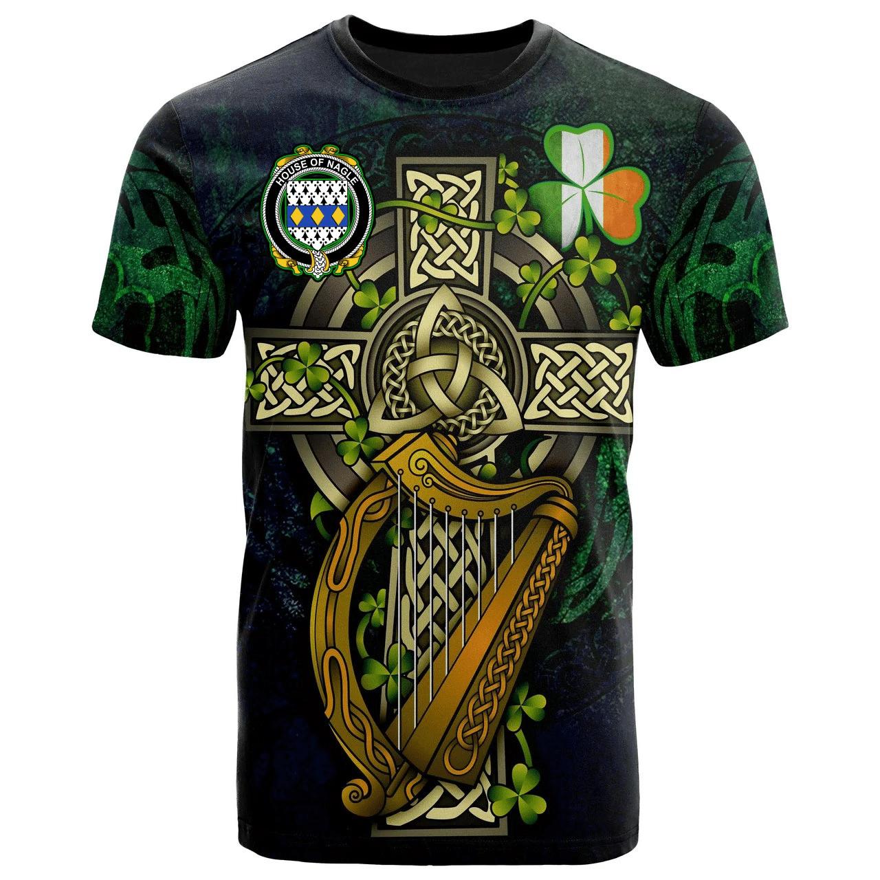 1sttheworld Ireland T-Shirt - House of NAGLE Irish Family Crest and Celtic Cross A7
