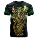 1sttheworld Ireland T-Shirt - Garrett Irish Family Crest and Celtic Cross A7