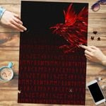 Vikings Premium Wood Jigsaw Puzzle (Vertical) - Raven Tattoo Style Red A27