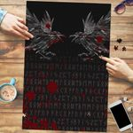 Vikings Premium Wood Jigsaw Puzzle (Vertical) - Odin's Ravens Tattoo Style Blood A27