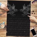 Vikings Premium Wood Jigsaw Puzzle (Vertical) - Odin's Ravens Tattoo Style A27
