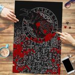 Vikings Premium Wood Jigsaw Puzzle (Vertical) - Ravens and Vegvisir Tattoo Style Blood A27