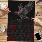Vikings Premium Wood Jigsaw Puzzle (Vertical) - Raven Tattoo Style Blood A27