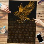 Vikings Premium Wood Jigsaw Puzzle (Vertical) - Raven Tattoo Style Gold A27