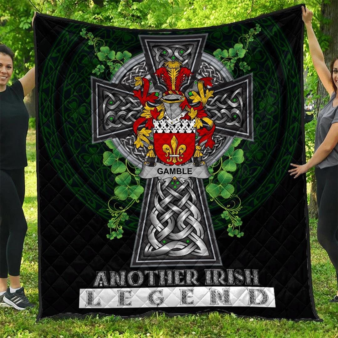 1sttheworld Premium Quilt - Gamble Irish Family Crest Quilt - Irish Legend A7